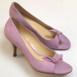 Ann Taylor LOFT Peep-Toe Lilac Bow Pumps Size 7.5